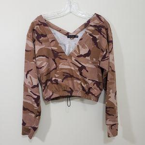 Boohoo double V-neck crop camo sweatshirt